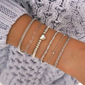 3/$33 6 Piece Silver Heart Bracelet Set